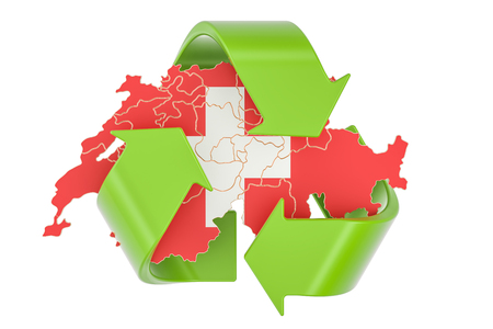 Recycling in Switzerland concept, 3D rendering isolated on white background