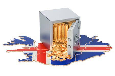 Safe Mit Goldenen Münzen Auf Der Karte Von österreich 3d Rendering