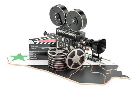 Syrian cinematography, film industry concept. 3D rendering isolated on white background Stock Photo