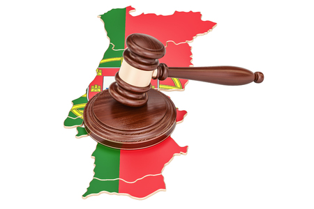 law of portugal: Wooden Gavel on map of Portugal, 3D rendering isolated on white background