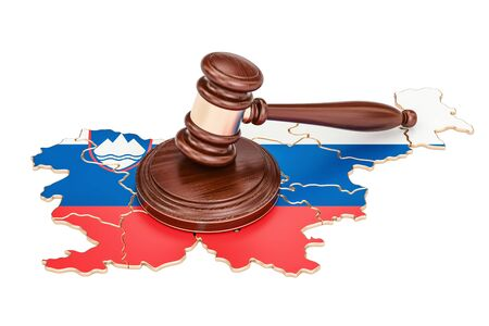 Wooden Gavel on map of Slovenia, 3D rendering isolated on white background