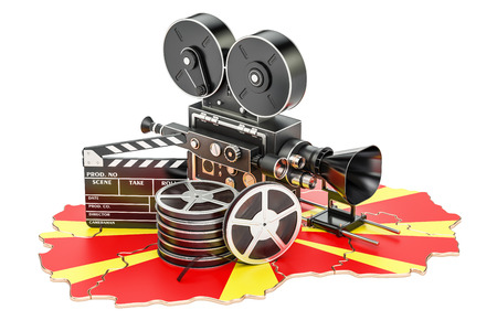 Macedonian cinematography, film industry concept. 3D rendering isolated on white background