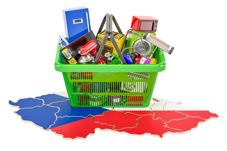 Map of Czech Republic with shopping basket full of home and kitchen appliances, 3D rendering Stock Photo