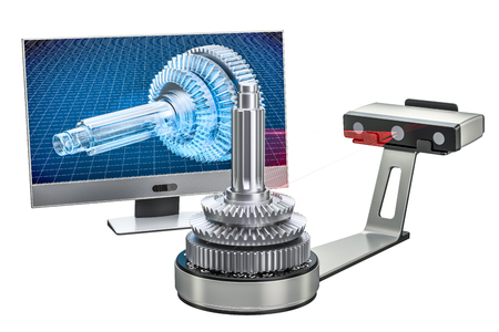 3d scanner scanning of object with computer monitor, 3D rendering isolated on white background