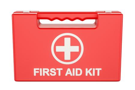 Auto-Erste-Hilfe-Ausrüstung, Wiedergabe 3D lokalisiert auf weißem Hintergrund Standard-Bild - 89671946