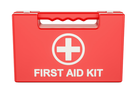 Car First Aid Kit, 3D rendering isolated on white background