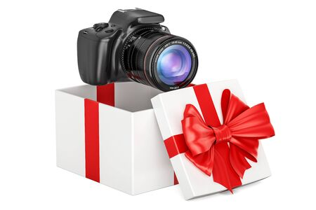 Gift concept, digital camera inside gift box. 3D rendering