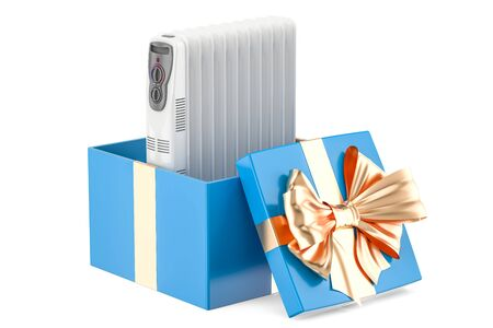Gift concept, electric oil heater inside gift box. 3D rendering
