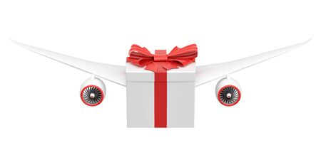 Gift delivery concept. Gift box with wings flying, 3D rendering isolated on white background Stock Photo