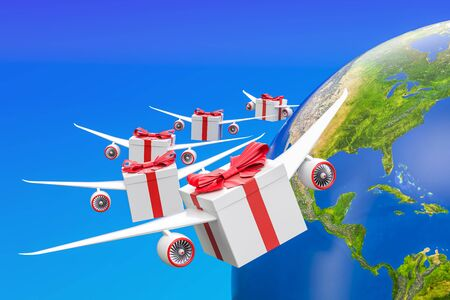 Global gift delivery concept. Gift boxes with wings flying in the sky around Earth globe, 3D rendering