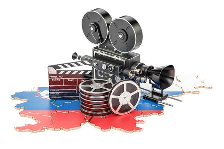 スロベニア語映画、映画業界概念。白い背景に分離された 3 D レンダリング
