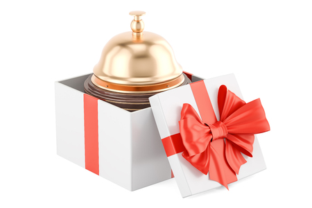 birthday celebration: Booking service in gift concept. 3D rendering isolated on white background