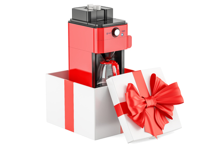 Coffeemaker or coffee machine oven inside gift box, gift concept. 3D rendering isolated on white background Stock Photo