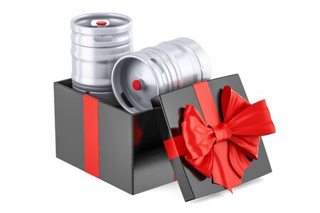 Gift box with beer metallic keg, 3D rendering isolated on white background