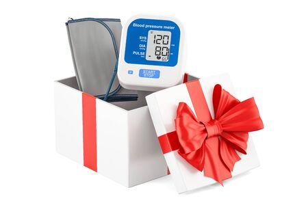 Gift box with digital tonometer, 3D rendering isolated on white background