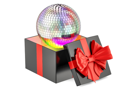 Gift box with mirror disco ball, 3D rendering isolated on white background Stock Photo
