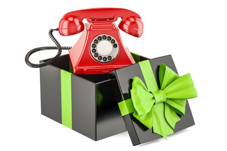 Gift box with telephone, 3D rendering isolated on white background Stock Photo