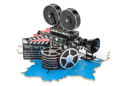 Luxembourg cinematography, film industry concept. 3D rendering isolated on white background Stock Photo