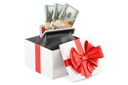 Purse with dollar packs inside gift box, 3D rendering Stock Photo