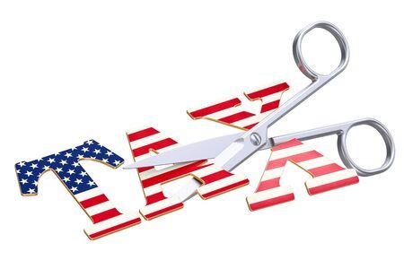세금 감면 미국 개념입니다. 흰 배경에 고립 된 3D 렌더링 스톡 콘텐츠