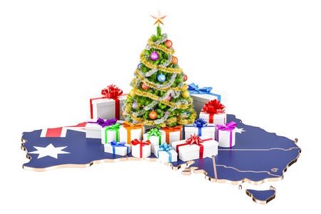 Christmas and New Year holidays in Australia concept. 3D rendering isolated on white background