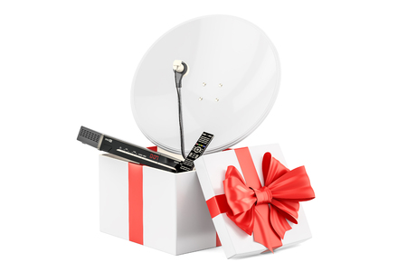 Gift box with digital satellite receiver and satellite dish, 3D rendering isolated on white background
