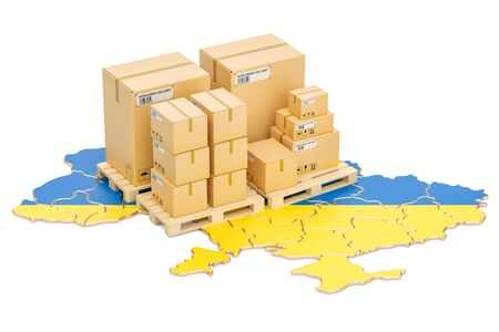 Shipping and Delivery from Ukraine isolated on white background