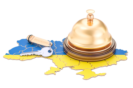 Ukraine booking concept. Ukrainian flag with hotel key and reception bell, 3D rendering