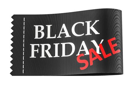 Black Friday inscription on the clothing tag, 3D rendering Stock Photo