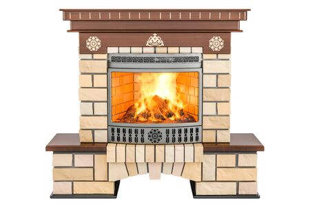 Fireplace front view, 3D rendering isolated on white background