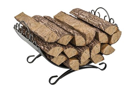 Firewood stack in cast iron grate, 3D rendering Stock Photo