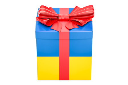 Gift box with flag of Ukraine, holiday concept. 3D rendering isolated on white background