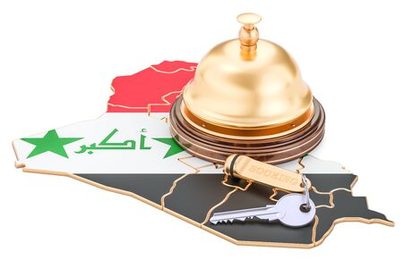 Iraq booking concept. Iraqi flag with hotel key and reception bell, 3D rendering