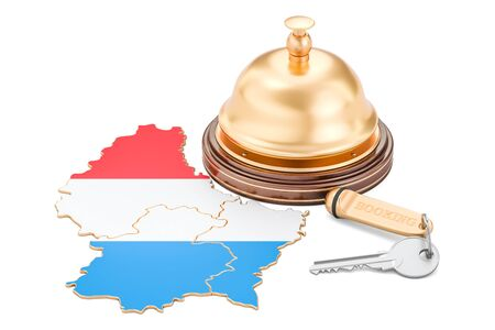 Luxembourg booking concept. Flag with hotel key and reception bell, 3D rendering Stock Photo