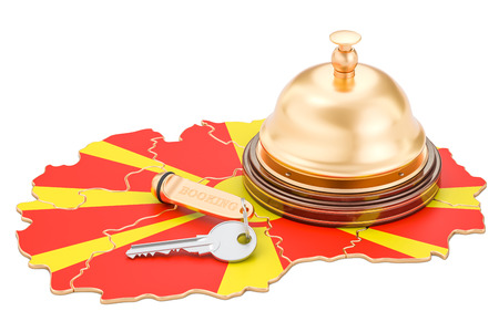 Macedonia booking concept. Macedonian flag with hotel key and reception bell, 3D rendering