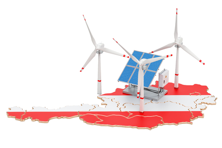 Renewable energy and sustainable development in Austria, concept. 3D rendering isolated on white background