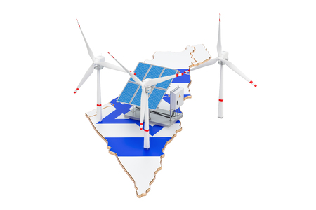 Renewable energy and sustainable development in Israel, concept. 3D rendering isolated on white background