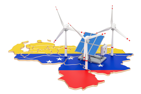 Renewable energy and sustainable development in Venezuela, concept. 3D rendering isolated on white background Stock Photo