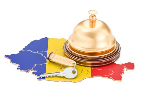 Romania booking concept. Romanian flag with hotel key and reception bell, 3D rendering Stock Photo