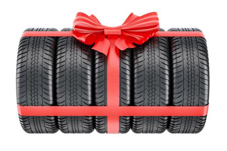 タイヤは、リボン、弓、ギフトの概念に包まれました。白い背景に分離された 3 D レンダリング