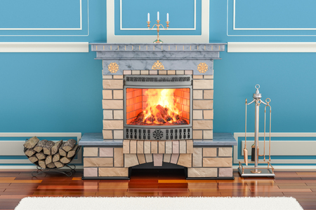 Home interior with fireplace, 3D rendering
