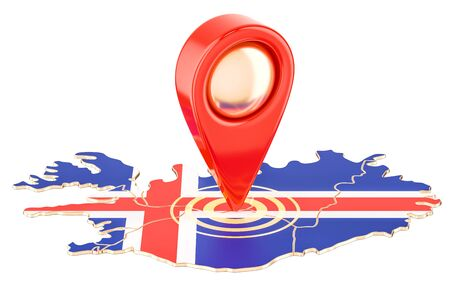 Map pointer on the map of Iceland, 3D rendering isolated on white background