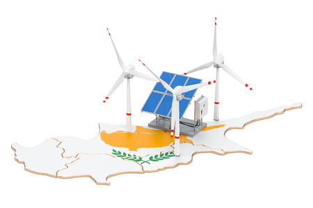 Renewable energy and sustainable development in Cyprus, concept. 3D rendering isolated on white background Stock Photo