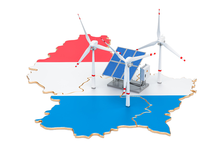 Renewable energy and sustainable development in Luxembourg, concept. 3D rendering isolated on white background