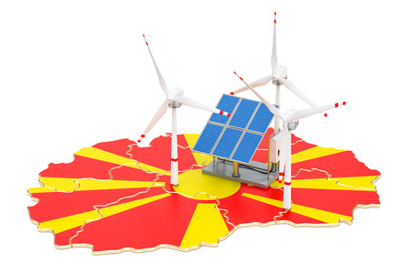 Renewable energy and sustainable development in Macedonia, concept. 3D rendering isolated on white background Stock Photo