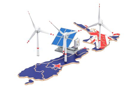 Renewable energy and sustainable development in New Zealand, concept. 3D rendering isolated on white background Stock Photo