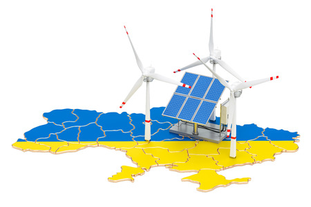 Renewable energy and sustainable development in Ukraine, concept. 3D rendering isolated on white background Stock Photo