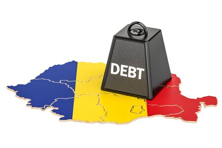 Romanian national debt or budget deficit, financial crisis concept, 3D rendering