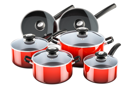 Set of cooking red kitchen utensils and cookware. Pots and pans, 3D rendering isolated on white background Stock Photo