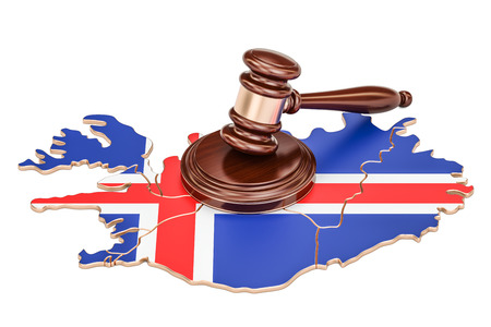 Wooden Gavel on map of Iceland, 3D rendering isolated on white background